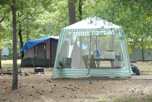Tent camping at Burns Park Campground, North Little Rock Arkansas