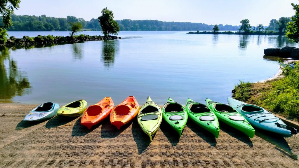Kayaks on boat ramp, Rock Town River Outfitters, North Little Rock, Arkansas