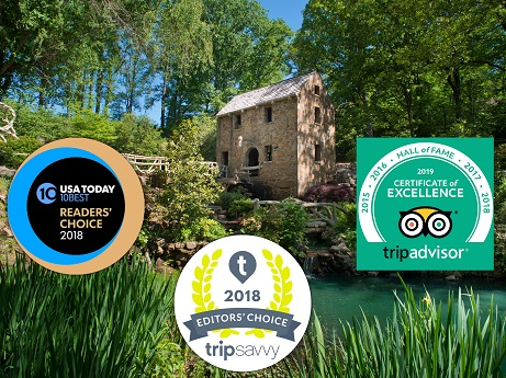 The Old Mill has won the 2018 USAToday's 10Best Reader's Choice Award, 2018 TripSavvy Editors' Choice Award, and 2018 TripAdvisor Certificate of Excellence Hall of Fame
